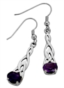 Picture of Laced Silver Celtic Teardrop ear-rings Amethyst