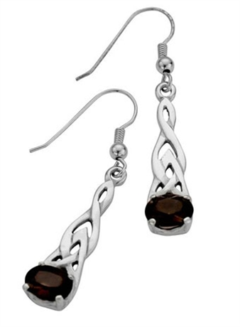 Picture of Laced Silver Celtic Teardrop ear-rings Smoky Quartz