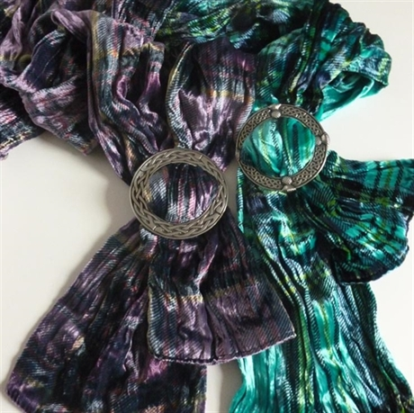Picture of Tartan Silk & Velvet Blend Twirled Scarf with Scarf Ring, Midi
